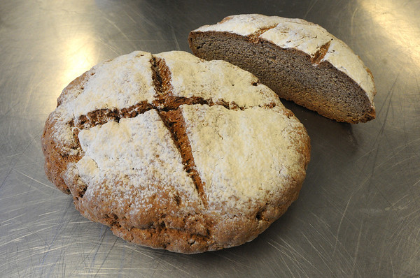 """Beverly:<br /> Chef Brendan Cronin is Irish and has written a memoir called """"Cheffin--from potatoes to caviar"""". In his book is a recipe for """"My mother's Irish brown soda bread"""" which was created from his mother's recipe.<br /> Photo by Ken Yuszkus/Salem News, Wednesday,  March 7, 2012."""
