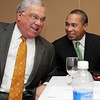 Salem:<br /> Boston mayor Thomas Menino, left, jokes with Governor Deval Patrick just after the governor arrived at the Mass Mayors Association meeting held at Salem State University.<br /> Photo by Ken Yuszkus/Salem News, Wednesday, February 16, 2011.
