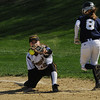 Danvers:<br /> Bishop Fenwick's first baseman Katherine Melanson catches the throw to put St. Mary's Lynn's Alison Butler out at first at the St. Mary's Lynn at Bishop Fenwick softball game on Monday afternoon.<br /> Photo by Ken Yuszkus/Salem News, Monday, May 2, 2011.