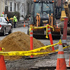 Salem:<br /> Construction work continues on Bridge Street near Winter Street.<br /> Photo by Ken Yuszkus/Salem News, Tuesday, April 5, 2011.