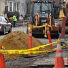 Salem:<br /> Construction work continues on Bridge Street near Winter Street.<br /> Photo by Ken Yuszkus/Salem News, Tuesday, April 5, 2011.