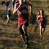Hamilton:<br /> Masconomet's Marco Caserta runs toward the finish line to finish second at the Masconomet vs Newburyport boys cross country race at Bradley Palmer Stae Park.<br /> Photo by Ken Yuszkus/Salem News, Thursday, October 20, 2011.