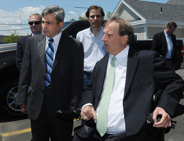 Danvers:<br /> Danvers Rep. Ted Speliotis, left, and Senator Thomas P. Kennedy speak at the site of the Danversport explosion before going on a tour of the affected neighborhood.<br /> Photo by Ken Yuszkus/Salem News, Monday, June 6, 2011.