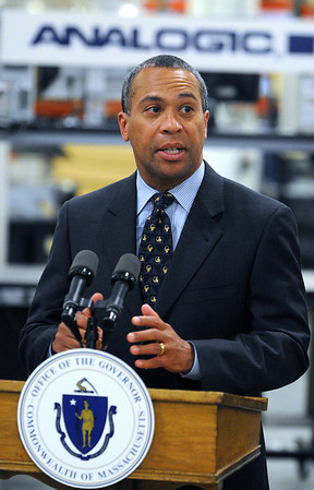 Peabody:<br /> Governor Patrick speaks after touring Analogic Corporation. He was at Analogic Corporation to make an announcement relative to job training. <br /> Photo by Ken Yuszkus/Salem News, Tuesday, April 27, 2010.