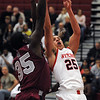 Salem:<br /> Salem's Rafael Medrano, right, shoots for a basket during the Lynn English at Salem High School boys basketball game for the Northeastern Conference title.<br /> Photo by Ken Yuszkus/Salem News, Tuesday, February 15, 2011.