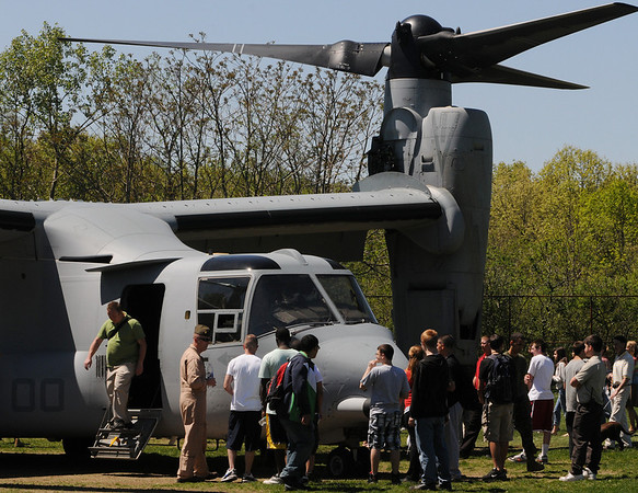 Salem:<br /> Salem High School students look over the Marine Osprey helicopter that landed at the school.<br /> Photo by Ken Yuszkus/Salem News, Tuesday, May 5, 2010.