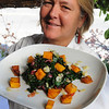 Salem:<br /> Kate Hammond, chef at The Grapevine Restaurant, with her sautered Swiss chard with pumpkin dish, which is her example of a thanksgiving recipe.<br /> Photo by Ken Yuszkus/Salem News,  Friday,  November 12, 2010.