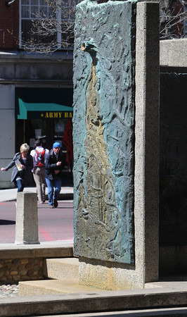 Salem:<br /> The city is considering some changes to the Essex Street pedestrian mall, including removing this fountain at Essex and Washington Streets and the uneven cobblestones.<br /> Photo by Ken Yuszkus/Salem News, Wednesday, April 4, 2012.