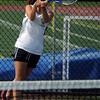 Peabody:<br /> Bishop Fenwick's Jess Griffin returns the ball during her doubles match accompanied by Sara Kanarkiewicz during the North Reading at Bishop Fenwick girls state tennis tournament playoff match.<br /> Photo by Ken Yuszkus/Salem News, Friday, June1, 2012.