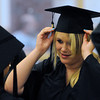 Ipswich:<br /> Jessica Neenan her mortarboard on her head before the start of the Ipswich High School graduation.<br /> Photo by Ken Yuszkus/Salem News, Sunday, June 3, 2012.