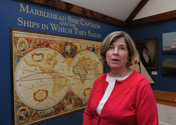 """Marblehead:<br /> Pam Peterson, director of the Marblehead Museum, speaks about the new exhibit, """"Marblehead Ship Captains and the Ships in Which They Sailed"""". The exhibit celebrates Marblehead's maritime traditions, salutes her sea captains, and displays portraits and models of the vessels they sailed.<br /> Photo by Ken Yuszkus/Salem News, Tuesday, November 8, 2011."""