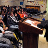Peabody:<br /> Holocaust Survivor Sonia Weitz, speaks to the 8th grade students at Higgins Middle School, in the Roche Auditorium. She is asking the students if they read her book.<br /> Photo by Ken Yuszkus/Salem News, Monday, January 25, 2010.