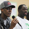 Salem:<br /> Rajon Rondo, left, Celtics point guard, speaks at the Bates Elementary School. Right is Brandon Bass, Celtics forward. Also, Bryan Doo, Celtics strength and conditioning coach, and Lucky, the Celtics mascot, were present for the program promoting a healthy and active lifestyle.<br /> Photo by Ken Yuszkus/Salem News, Thursday,  March 8, 2012.