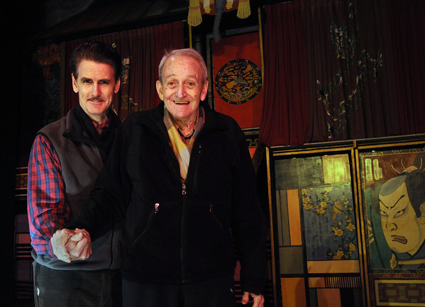 Beverly:<br /> David Bull, left, and Cesareo Pelaez stand on the stage at Cabot St. Cinema. It is the 35th anniversary of Le Grand David and his Own Spectacular Magic Company.<br /> Photo by Ken Yuszkus/Salem News, Monday, February 13, 2012.