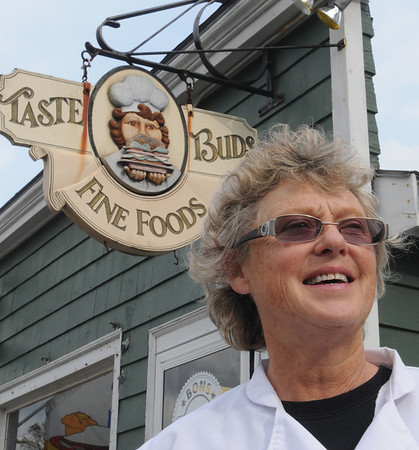 Beverly:<br /> Jan Pellegrini, owner of Taste Buds, is celebrating its 25th anniversary.<br /> Photo by Ken Yuszkus/Salem News, Monday, October 24, 2011.