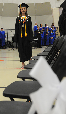 Ipswich:<br /> Valedictorian Megan Freiberger leads the graduates during the processional at the Ipswich High School graduation.<br /> Photo by Ken Yuszkus/Salem News, Sunday, June 3, 2012.