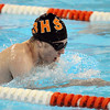 Salem:<br /> Kyle Shropshire of Beverly swims one leg in the mens 200 yard medley relay at the Northeastern Conference swim meet at the O'Keefe Center pool at Salem State.<br /> Photo by Ken Yuszkus/Salem News, Tuesday, February 8, 2011.
