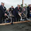 Danvers:<br /> Shoveling dirt from left,  Lt. Governor Tim Murray, Senate Majority Leader Fred Berry, Wayne Marquis, Danvers town manager, Treasurer Steve Grossman, hidden is John McCarthy, executive director, Massachusetts School Building Authority, Representative Theodore Speliotis, senate minority leader Bruce Tarr, and former Peabody Mayor Michael Bonfonti, break ground at the Essex North Shore Agricultural & Technical School groundbreaking ceremony.<br /> Photo by Ken Yuszkus/Salem News, Wednesday, May 9, 2012.