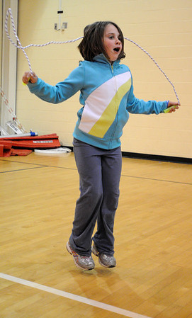 Danvers:<br /> Nicole Crateau, 9, of Danvers, jumps rope during the Healthy Kids Day at the Danvers Community YMCA on Saturday. <br /> Photo by Ken Yuszkus/Salem News, Saturday, April 17, 2010.