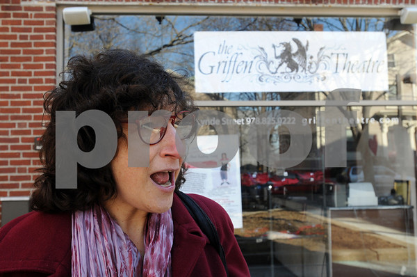 """Salem:<br /> Marblehead resident Judith Black will be putting on a performance called """"That Fading Scent; A Seditious Comedy About Women and Aging"""". She is standing in front of the Griffen Theatre where she will be performing.<br /> Photo by Ken Yuszkus/Salem News, Wednesday,  February 25, 2009."""