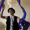 "Beverly:<br /> Mike Milan will perform a magic show for Beverly New Years. He is demonstrating his silk streamer trick while wearing his duct tape top hat. Known as ""Duct Tape"" because he always wears clothes with duct tape. <br /> Photo by Ken Yuszkus/Salem News, Friday, December 11, 2009."