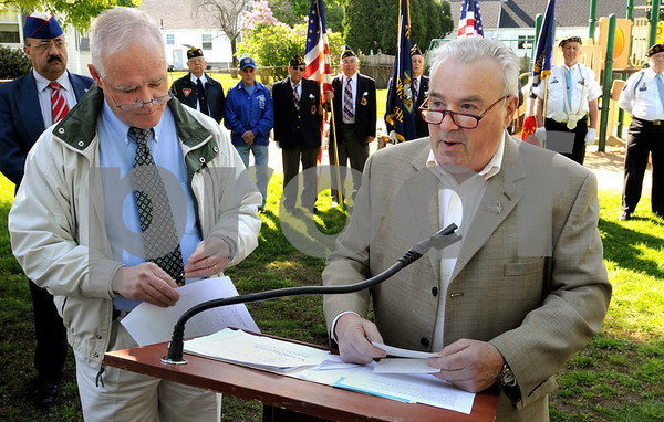 Peabody:<br /> Christopher Tighe, left, veterans agent, stands near Russ Marron, brother of fallen Army PFC. Bruce Allan Marron, while speaking of his brother during the commemoration and renaming of the park in tribute of P.F.C Bruce Marron.<br /> Photo by Ken Yuszkus/Salem News, Monday May 11, 2009.