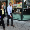 Salem:<br /> Senator John Kerry and Salem Mayor Kim Driscoll walk along Lafayette Street during their walk around Salem. Senator John Kerry toured different areas of Salem with Mayor Kim Driscoll.<br /> Photo by Ken Yuszkus/Salem News, Wednesday August 11, 2010.