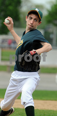 Danvers:<br /> Ryan Kelleher pitches for the Athletics during the Athletics vs the Rays Little League game at Memorial Field at Plains Park.<br /> Photo by Ken Yuszkus/Salem News, Saturday May 9, 2009.