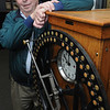 Beverly:<br /> David Delorey stands next to an old time clock used at the old United Shoe Manufacturing Center which is now the Cummings Center.<br /> Photo by Ken Yuszkus/Salem News, Thursday, November 17, 2011.