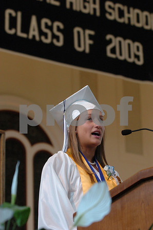 Wenham:<br /> Emily Bartlett, student government president gives her welcome speech inside the Gordon College chapel at the start of the graduation ceremonies of Hamilton-Wenham High School.<br /> Photo by Ken Yuszkus/Salem News, Sunday, June 7, 2009.