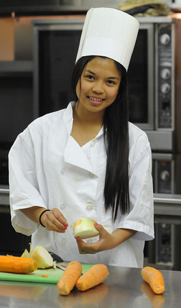 Salem:<br /> Salem High School senior Dasha Corpuz was selected for the Massachusetts Vocational Association Award this year. She is the only student, state-wide, to get this award and she is the first winner that is not from a voke school. Dasha is in the culinary arts program at Salem High.<br /> Photo by Ken Yuszkus/Salem News, Tuesday, April 3, 2012.