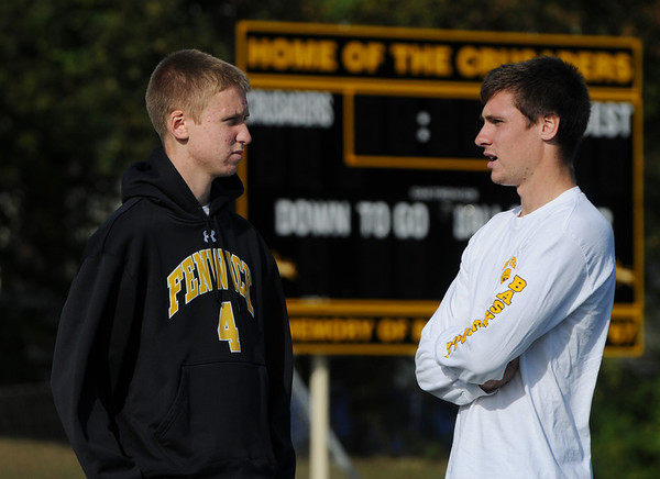 Peabody:<br /> Bishop Fenwick boys soccer captain Bryon Blaisdell, left, and Bishop Fenwick boys soccer assistant coach, Steve Blaisdell, at practice on Tuesday.<br /> Photo by Ken Yuszkus/Salem News, Tuesday, October 11, 2011.