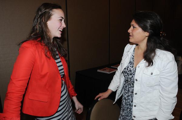 Danvers:<br /> Holbrook Phelan, left, of Salem High, and Mia Farnham, of Masconomet, talk at the Salem News Student-Athlete banquet.<br /> Photo by Ken Yuszkus/Salem News, Thursday, April 5, 2012.