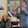 Salem:<br /> Joan Kennedy sings along with John Archer. John Archer was entertaining the residents of Grosvenor Park. He encouraged the audience to sing along. <br /> Photo by Ken Yuszkus/Salem News, Thursday, April 1, 2010.