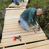 Danvers:<br /> Frank Lentine, in the foreground, screws the planks down on the walkway of the SwampWalk project  He, along with others, were working on the walkway Thursday morning.<br /> Photo by Ken Yuszkus/Salem News, Thursday, May 19, 2011.
