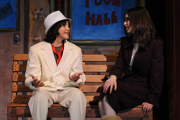 Danvers:<br /> Emmett Pierro, left, as Harold Hill, and Alex Skarmeas, as Marian, rehearse their lines for the upcoming performance of The Music Man at the Holton Richmond Middle School.<br /> Photo by Ken Yuszkus/Salem News, Wednesday January 27, 2010.
