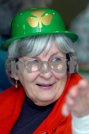 Danvers:<br /> Gail Sullivan of Danvers, is in the spirit of St. Patricks Day with her festive hat. The seniors had corned beef, boiled cabbage, Irish soda bread, potatoes and carrots after the program of Irish step dancers from Salem plus Glenshane entertainers.<br /> Photo by Ken Yuszkus/Salem News, Tuesday, March 17, 2009.