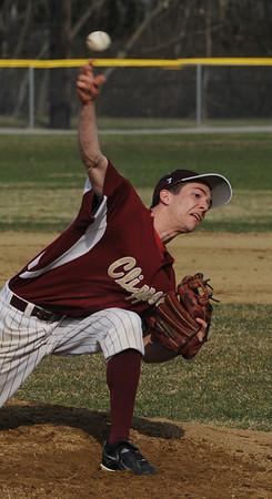 Beverly:<br /> Newburyport's pitcher, Ryan Clark, pitches during the Newburyport at Beverly baseball game at Cooney Field.<br /> Photo by Ken Yuszkus/Salem News, Monday, April 11, 2011.