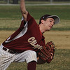 Beverly:<br /> Newburyport's pitcher, Ryan Clark, pitches during the Newburyport at Beverly baseball game at Cooney Field.<br /> Photo by Ken Yuszkus/Salem News, Monday, April 11, 2011.