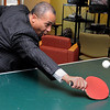 Danvers:<br /> Gov. Deval Patrick plays table tennis with a student when he first arrived at North Shore Community College. He was there to tout ARRA funding and a solar panel project for the Berry Building.<br /> Photo by Ken Yuszkus/Salem News, Thursday, February 25, 2010.