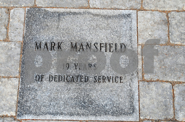 Salem;<br /> The stone with Mark Mansfield's name inscribed  at the memorial that was built at the Salem power plant. It is a rememberance for the three workers killed at the power plant one year ago.<br /> Photo by Ken Yuszkus/Salem News, Wednesday, November 5, 2008.