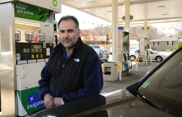Salem:<br /> Ziad Nabbout at his BP station on Jackson Street in Salem.<br /> Photo by Ken Yuszkus/Salem News, Friday, April 13, 2012.
