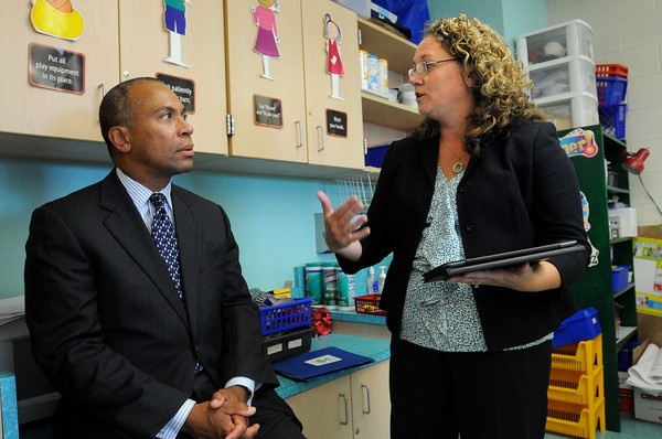 """Salem:<br /> Gov. Deval Patrick speaks with principal Jean-Marie Kahn of the Carlton Elementary during his visit Thursday afternoon to highlight their new """"innovation school"""" model. <br /> Photo by Ken Yuszkus/The Salem News, Thursday, September 13, 2012."""