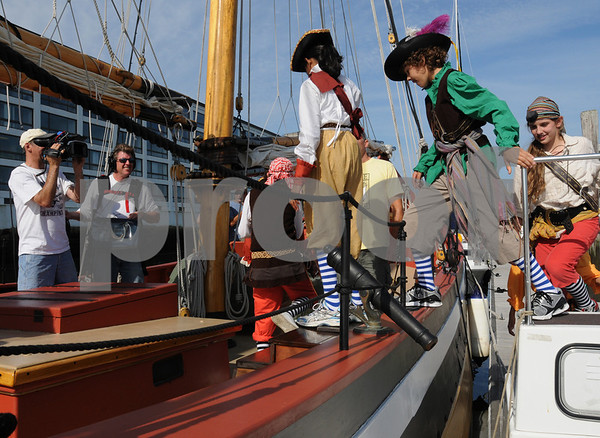 """Salem:<br /> """"Fetch With Ruff Ruffman"""" is a nationaly telecast children's show on public television. The actors are boarding the schooner Fame at Pickering Wharf during a shoot for a pirate episode.<br /> Photo by Ken Yuszkus/Salem News, Thursday, August 6, 2009."""