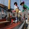 "Salem:<br /> ""Fetch With Ruff Ruffman"" is a nationaly telecast children's show on public television. The actors are boarding the schooner Fame at Pickering Wharf during a shoot for a pirate episode.<br /> Photo by Ken Yuszkus/Salem News, Thursday, August 6, 2009."