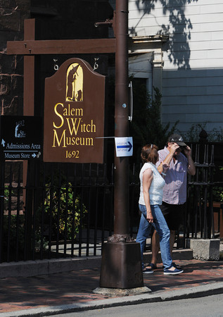 Salem:<br /> Sally and Russell Gaidzik stand outside the Salem Witch Museum. They are visiting from Branson, Missouri. <br /> Photo by Ken Yuszkus/The Salem News, Friday, September 7, 2012.