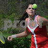 Topsfield:<br /> Masconomet's Lauren Fitzgerald gets ready to return the ball during her match. Masconomet played Lincoln-Sudbury in Division 1 North playoff quarterfinals in girls tennis.<br /> Photo by Ken Yuszkus/Salem News,  Tuesday, June 2, 2009.
