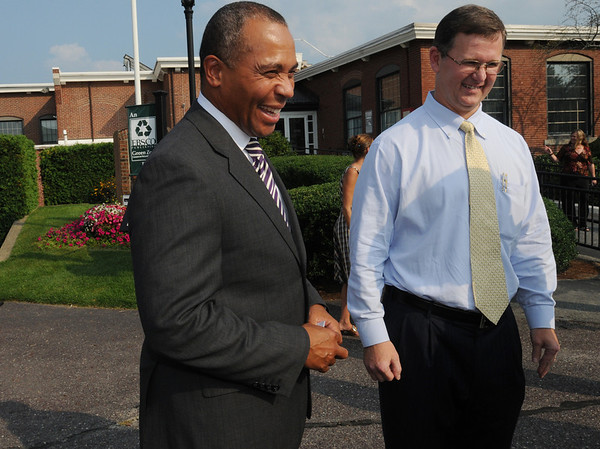 Ipswich:<br /> Governor Deval Patrick meets with Tim Collins, president and CEO of EBSCO Publishing, outside EBSCO Publishing when he arrives Wednesday afternoon. The governor was at EBSCO Publishing to celebrate the company's expansion and the creation of 90 new jobs.<br /> Photo by Ken Yuszkus/Salem News, Wednesday, September 14, 2011.