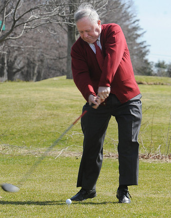 Beverly:<br /> Mayor Bill Scanlon hit the golf ball from the first tee to mark the opening of the Beverly Golf and Tennis Club under its new operator, Golf Facilities Management Inc..<br /> Photo by Ken Yuszkus/Salem News, Thursday, March 25, 2010.