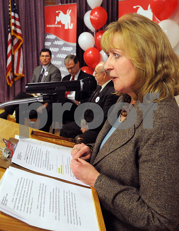Salem:<br /> Deborah Banda, State Director, AARP Massachusetts, speaks during the Divided We Fail Town Hall Meeting at the Salem Moose Lodge.<br /> Photo by Ken Yuszkus/Salem News, Friday,  January 9, 2009.<br /> <br /> <br /> <br /> Deborah Banda, State Director, AARP Massachusetts
